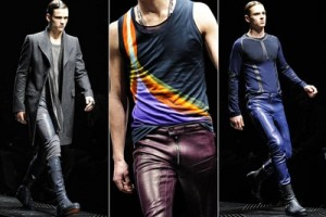 Leather pants Versace-style at Men's Fashion Week in Milan.