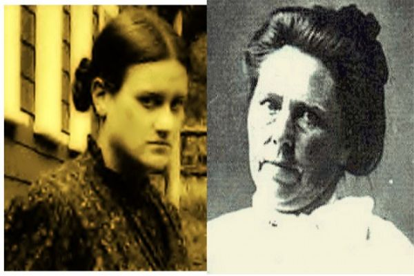 sepia and b/w photos of Belle Gunness, serial killer