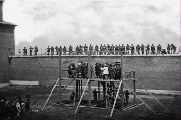 black and white photo of historic hanging scaffold Mary Surratt