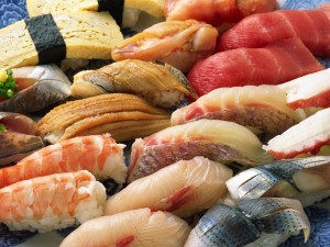 Pieces of seafood