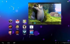 The interface of an Android tablet, multitasking for a tablet