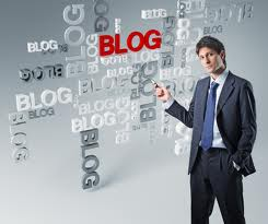 A businessman showing an example of blog