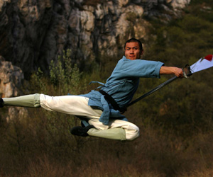 Chinese fighter wielding the blade of the green dragon