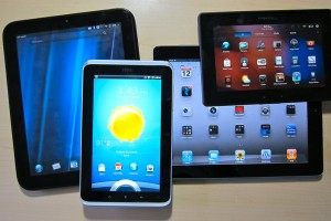 A variety of Android tablets with different sizes