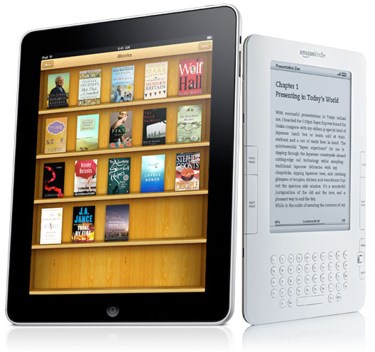 a Kindle and an iPad