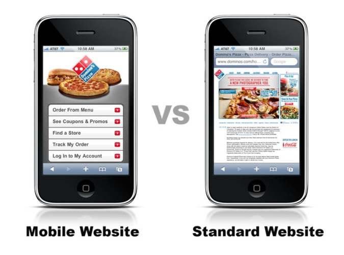 two smartphones where one has a mobile optimization, while the other doesn't have