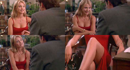Cameron Diaz red slit dress The Mask
