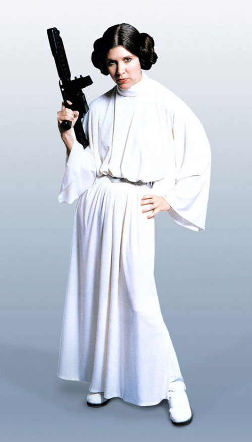 Carrie Fisher Princes Leia Star Wars 1977 white dress