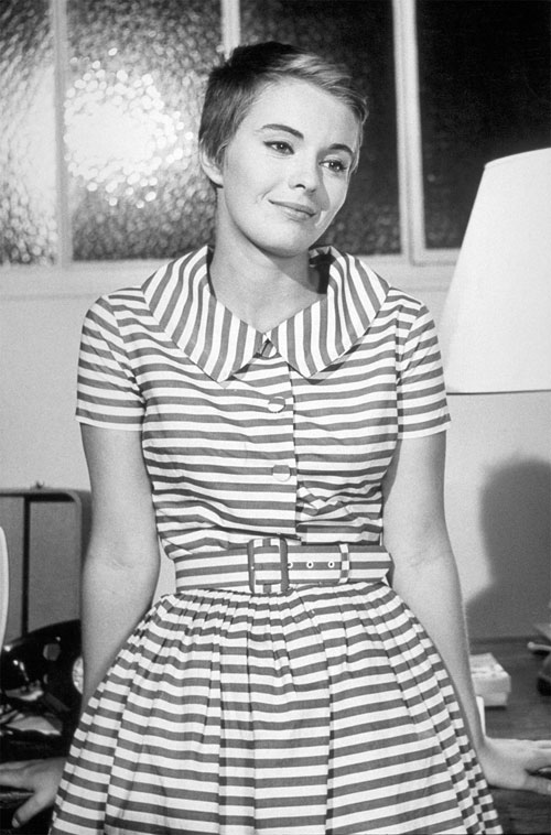 Jean Seberg striped dress Breathless A Bout de Souffle