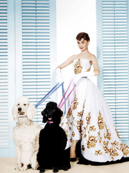 Audrey Hepburn gilded white dress dogs Sabrina