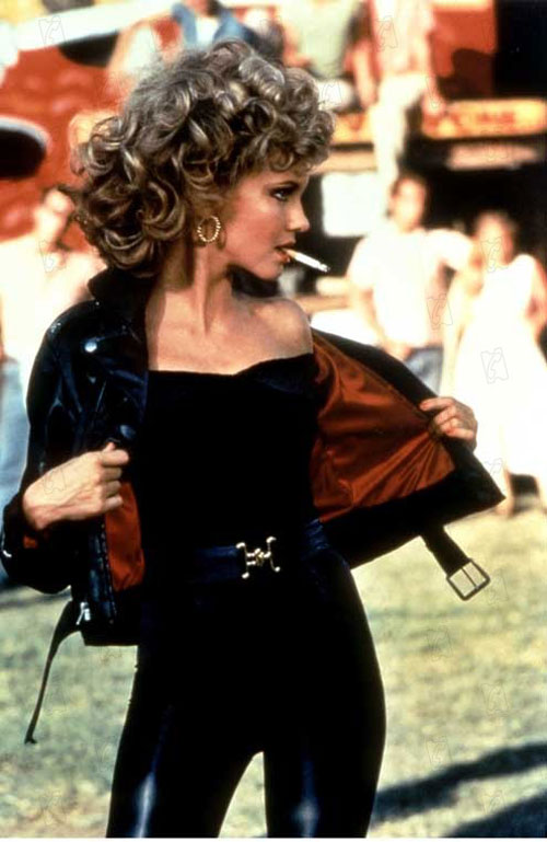 Olivia Newton John Grease black leather pantsuit