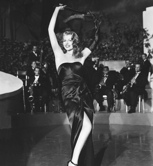 Rita Hayworth strapless black dress Gilda