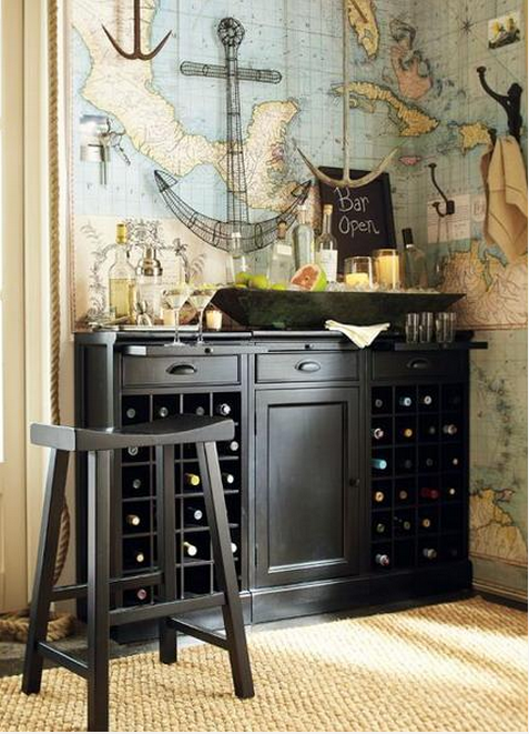 Navy Inspired Wet Bar