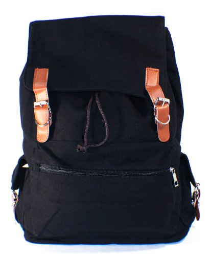 Black Canvas Backpack School Bag
