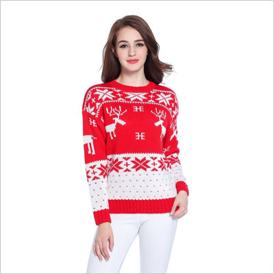 Cute Santa Embroidered Knitted Deer Pullover