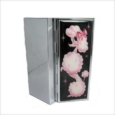 French Poodle Vanity Compact Mirror Case