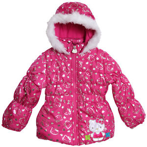 Hello Kitty Little Girls Pink Hooded Puffy Fleece Lined Winter Coat