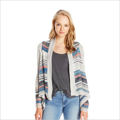 Junior's Long Sleeve Drape Front Patterned Cardigan