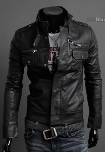 Kingdo Men's Fashion Motorcycle Pu Leather Jacket Slim Style