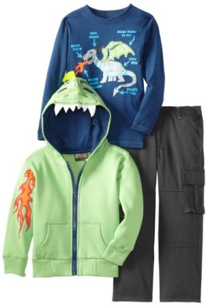Nannette Boys Three Pieced Scale Dinosaur Jacket with Pullover and Pant