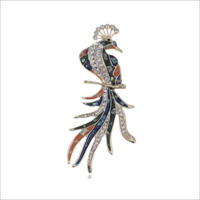 Clear Crystal Rhinestone Phoenix Bird Pin Brooch