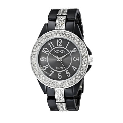 Rhinestone Accent Black Analog Bracelet Watch