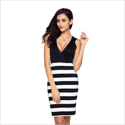 Womens Girls Deep V-neck Casual Mini Dress
