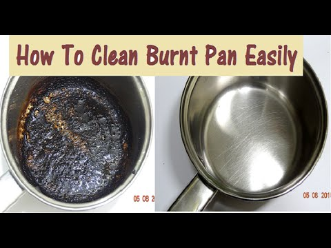 Cleans burnt pans, pots and other kitchen