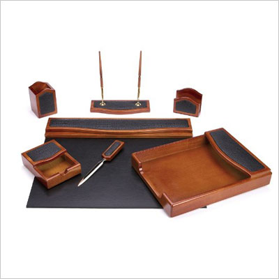 Seven Piece Brown Oak Desk Set