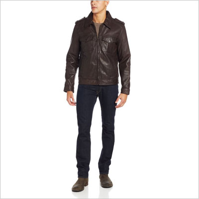 Two-Pocket Leather Moto Jacket