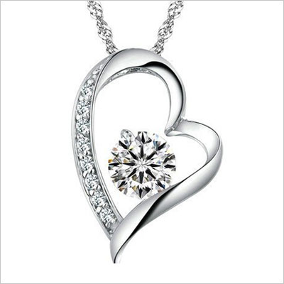 White Gold Heart Pendant Necklace