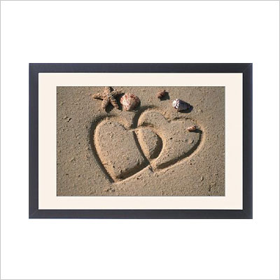 Framed Print Hearts drawn in the sand