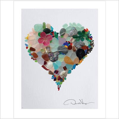 Sea Glass Heart Poster Print