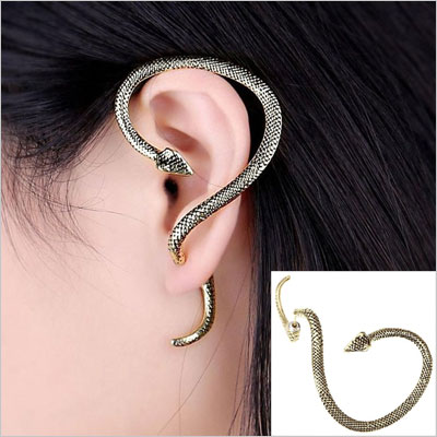 Cool Gothic Punk Snake Silver Earrings