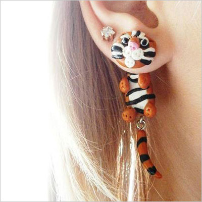 Two Part Bengal Tiger Fake Gauge Earrings