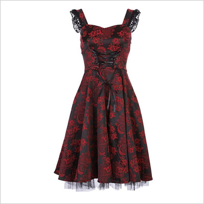 Black and Dark Red 50s Retro Dress