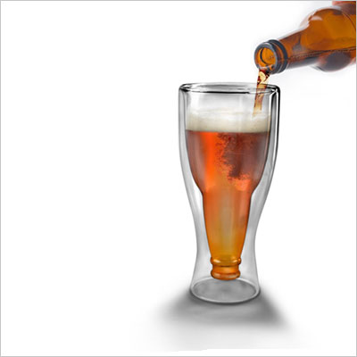 HOPSIDE DOWN Double-Walled Longneck Beer Glass