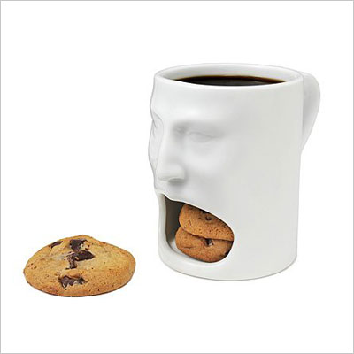 Lovely White Face Mug Ceramic Cookies Cup Dunk Mug with Biscuit Holder