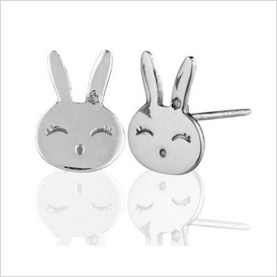 Sterling Silver Bunny Rabbit Face Children Earings