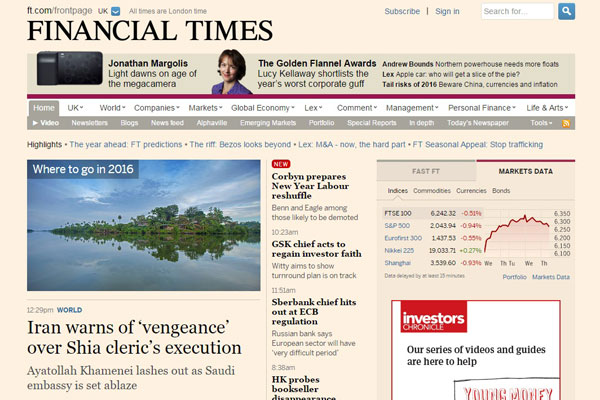Financial Times Business Website