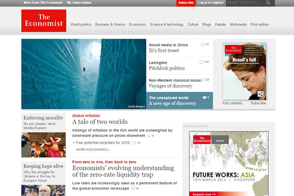 The Economist Business Website
