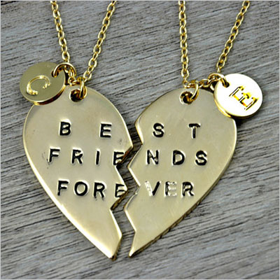 Best Friends Forever with initial charms necklace
