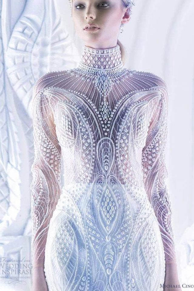 surreal pearl embellished wedding gown