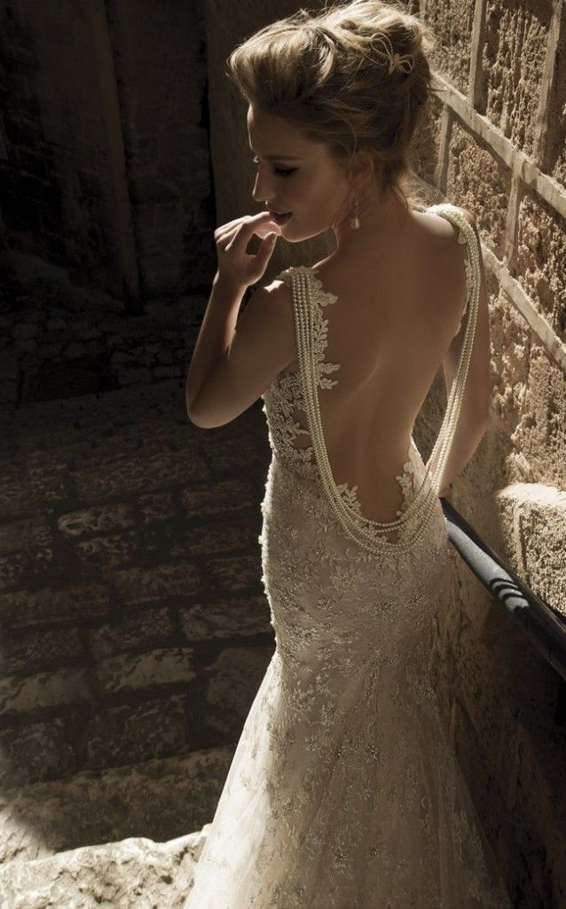 white pearl strand wedding gown