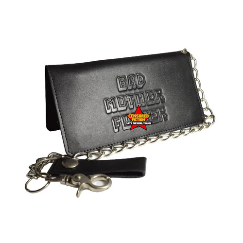 BMF Black Leather Wallet Embossed Biker