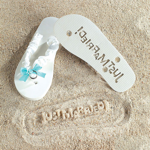"""Just Married"" Flip Flops Stamp Your Message in the Sand"