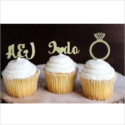 Personalized Glitter Cupcake Toppers