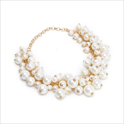 Simulated Pearl Beads Cluster Choker Necklace