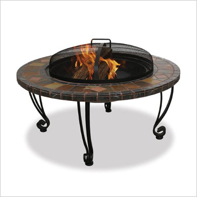 Slate & Marble Firepit with Copper Accents