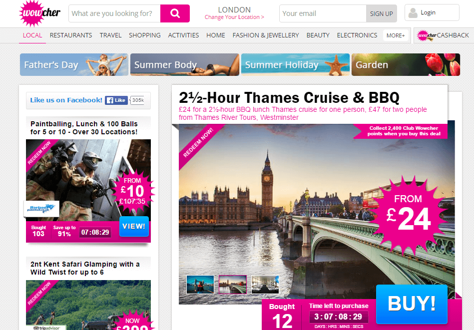 Wowcher landing page official UK
